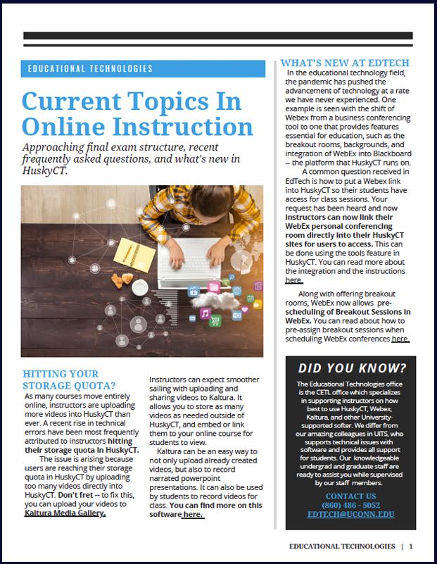 UConn Educational Technologies, Newsletter